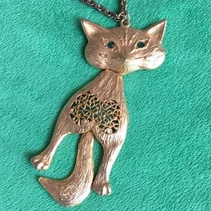 Unique vintage articulated kitty cat pendant